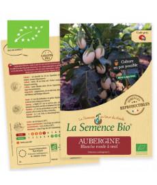 Graines bio à semer d'aubergine blanche ronde à oeuf
